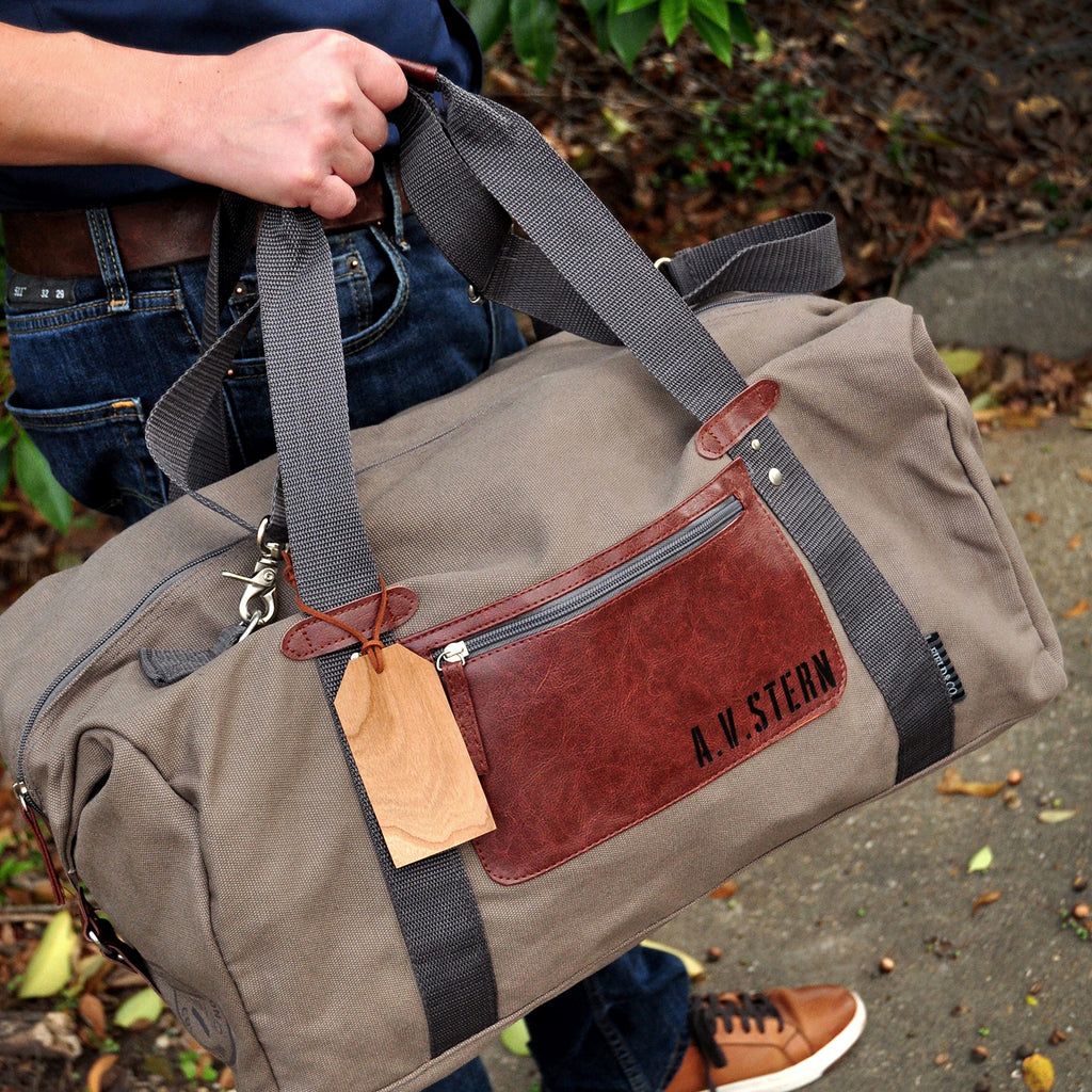 Groomsmen Gift Ideas. (Qty. 1). Gray and Cherry Personalized Duffel Bag. Gifts for Him. C20OB.
