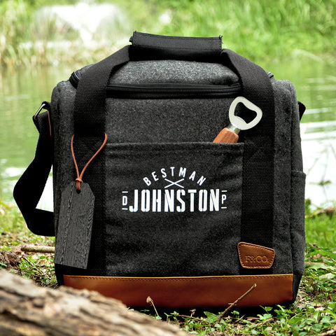Pre-Order Only. Available Late-November. Groomsmen Gift Bag.  (Qty. 1). Best Man Gift Ideas. Groomsmen Cooler Gift.  Groomsmen Personalized Cooler with Bottle Opener. G12WC.