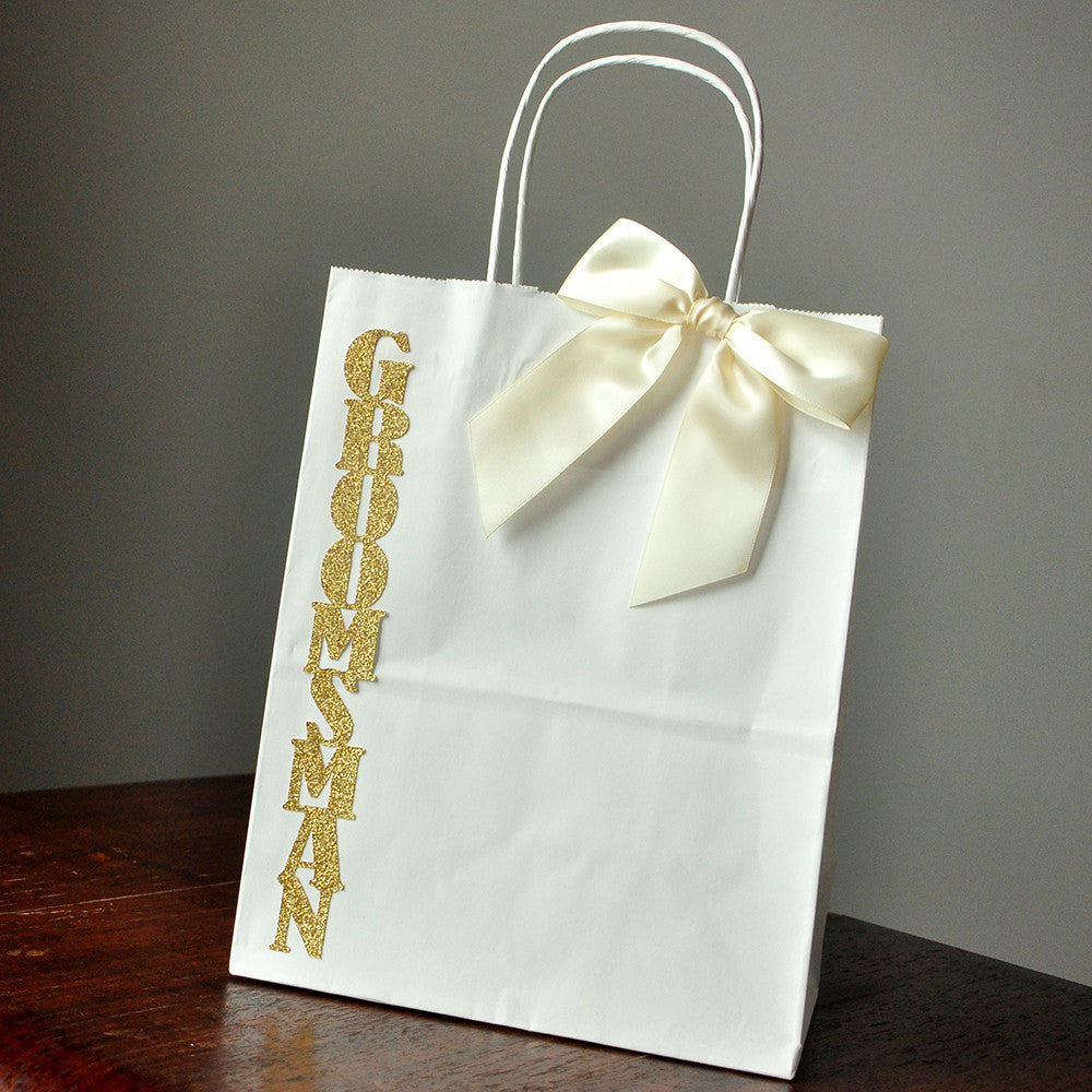 Groomsmen Gift Bags. Ships in 1-3 Business Days. Large White Paper Bags with Handle. Groomsmen Gift Ideas. W8KFT.