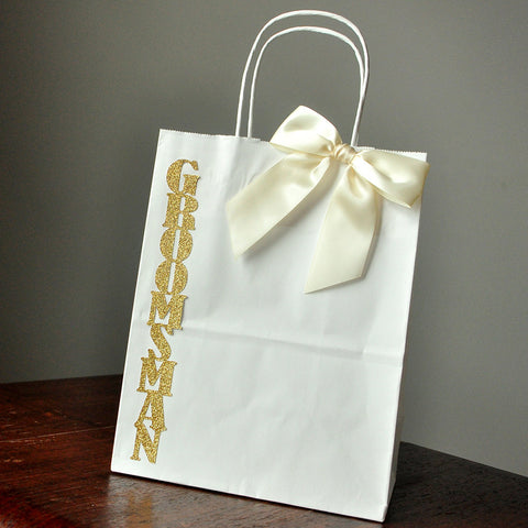 Groomsmen Gift Bags. Ships in 1-3 Business Days. Large White Paper Bags with Handle. Groomsmen Gift Ideas.