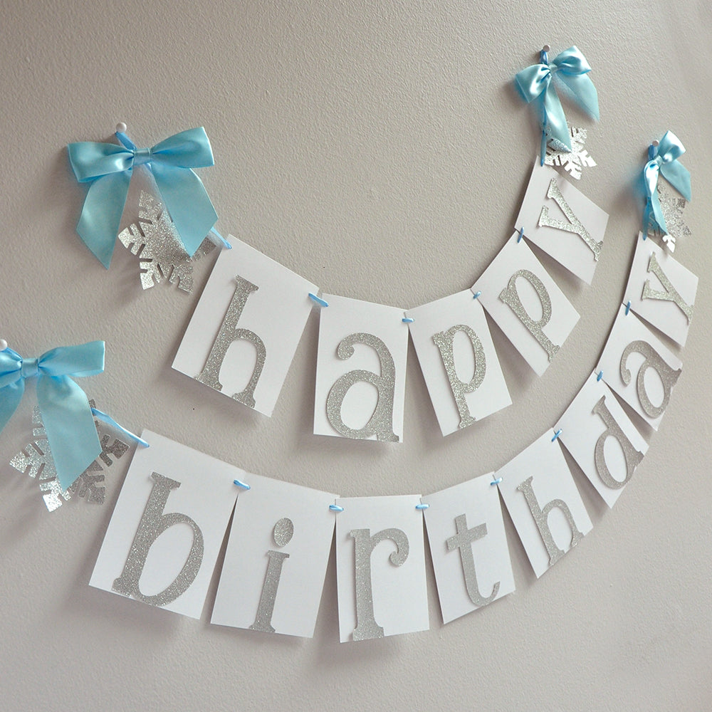 Winter Onederland Happy Birthday Banner. Handcrafted in 1-3 Business Days.  Snowflake Birthday Banner. Frozen Banner.
