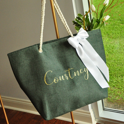 Hunter Green Personalized Beach Bag. (Qty. 1) Bridal Party Gift. Bridesmaid Beach Tote. H22BT