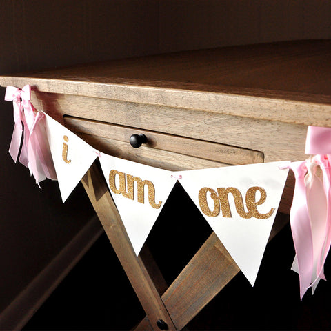 I Am One Banner.  First Birthday Banner. I Am One High Chair Banner. Pink and Gold Bunting Banner.