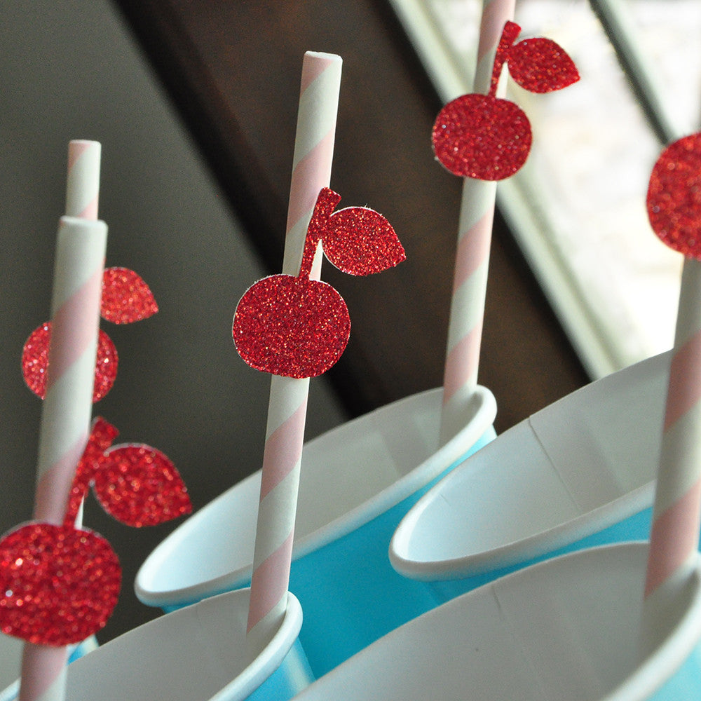 Ice Cream Shoppe Straws 10CT. Ships in 1-3 Business Days. Cherry on Top Paper Straws.
