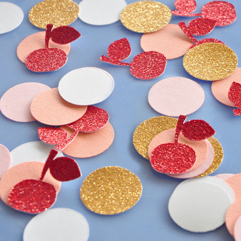 Ice Cream Shoppe Table Confetti 50CT. Handcrafted in 1-3 Business Days. Cherry and Circle Confetti.