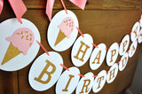 Ice Cream First Birthday. Handcrafted in 1-3 Business Days. Happy Birthday Banner.