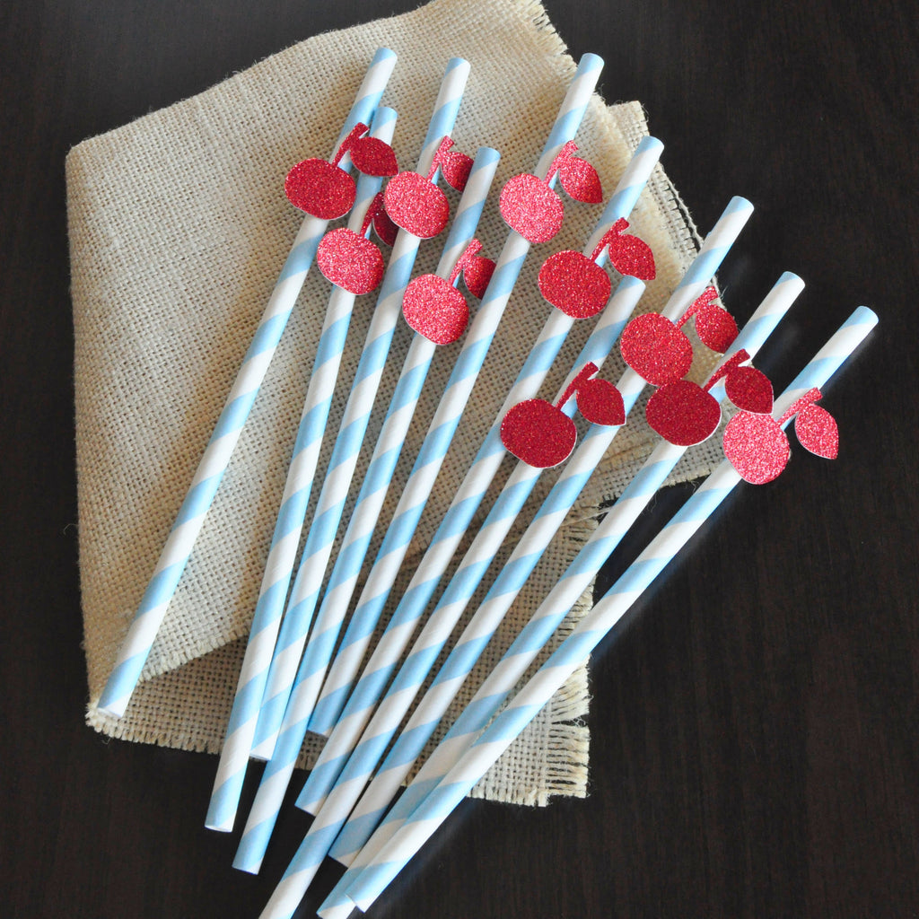 Baby Blue Ice Cream Shoppe Straws 10CT. Ships in 1-3 Business Days. Cherry on Top Paper Straws.