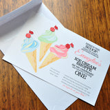 Ice Cream Invitation. First Birthday Invitations with Envelopes. We Print, Cut, Glue and Ship to You in 1-3 Business Days.