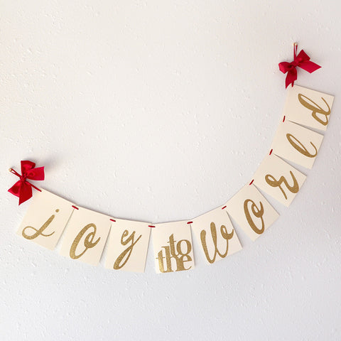 Christmas Decorations.  Ships in 1-3 Business Days.  Joy to the World Banner.
