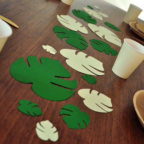 Jumbo Leaf Confetti. Moana Birthday Party.  Luau Party Decorations.  Tropical Leaf Wall Art 18CT.
