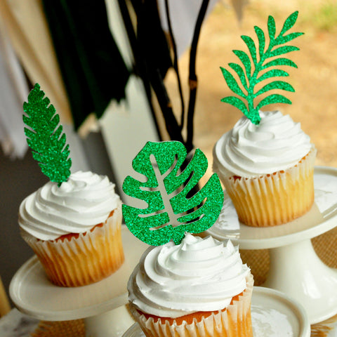 Jungle Leaves Cupcake Toppers. (1 set of 12 Toppers) Safari Baby Shower Decorations. Jungle Party Decoration.