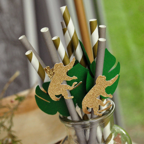 Safari Baby Shower Straws. (1 set of 10 straws) Jungle Party Decoration. Jungle Baby Shower.
