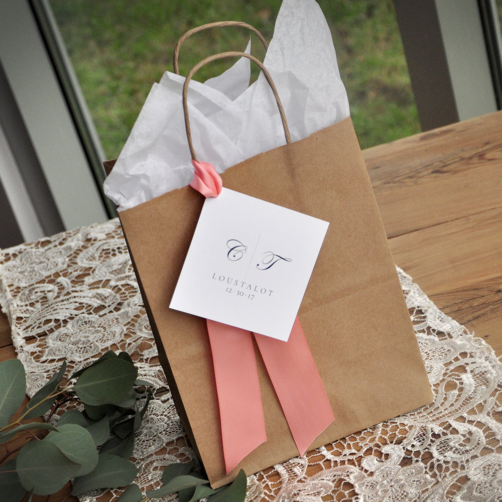 Wedding Guest Gift Bag for Hotel.  Guest Favor Bags. Brown Paper Bags with Handle. Wedding Favor Bag. Br8KFT.