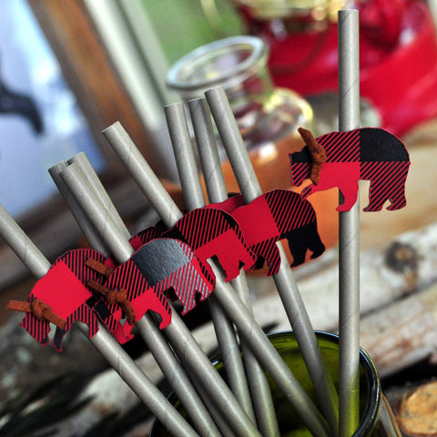Little Lumberjack 1st Birthday Straws. Buffalo Plaid Bear Straws. (1 set of 10 straws) Made in 1-3 Days. Lumberjack Baby Shower. Buffalo Plaid Party Decor.