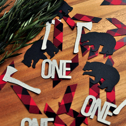 Little Lumberjack First Birthday Confetti. (50 Ct.) Made in 1-3 Days. Plaid One Confetti. Lumberjack First Birthday Decor. 1st Birthday Party Decor