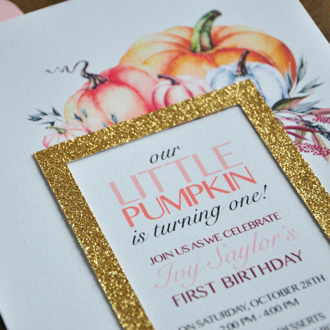 Our Little Pumpkin is Turning One. We Print, Cut, Glue & Ship in 1-3 Business Days. Little Pumpkin First Birthday Invitation with Envelopes.