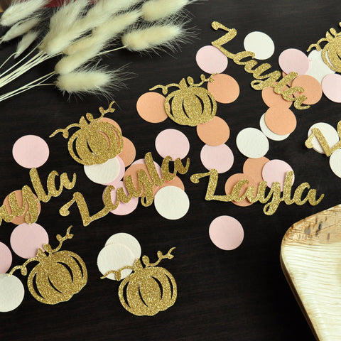 Little Pumpkin Personalize Confetti. (50ct) Made in 1-3 Days. Pumpkin Baby Shower Custom Confetti. Fall Birthday Name Confetti.