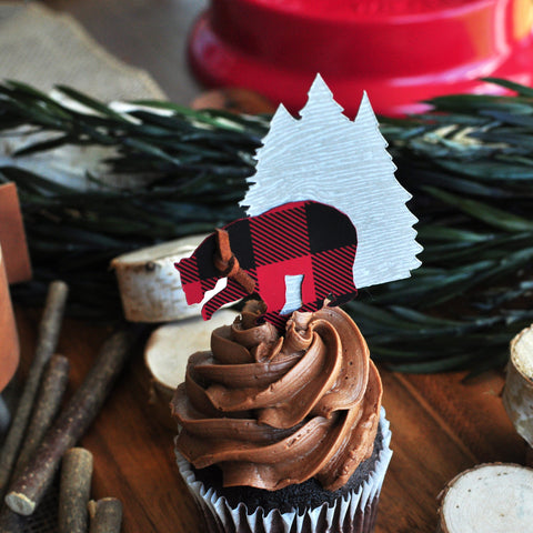 Lumberjack Birthday. Lumberjack Cupcake Toppers. (1 set of 12) Made in 1-3 Days. Woodland Birthday Decorations. Bear and Tree Cupcake Toppers.