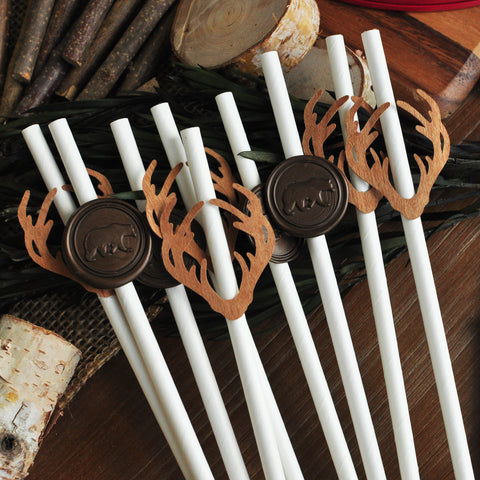 Lumberjack Birthday Decor. Wooden Antler & Wax Bear Straws. (1 set of 10 straws) Made in 1-3 Days. Lumberjack Party. Woodland Baby Shower Decorations.