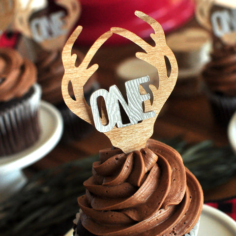 Lumberjack First Birthday. Lumberjack ONE Cupcake Toppers. (1 set of 12)  Made in 1-3 Days. Woodland Birthday Decorations. Antler Cupcake Toppers.