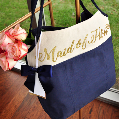 Maid of Honor Tote Bag (QTY. 1). Maid of Honor Gift Ideas. Maid of Honor Canvas Tote. N16CT