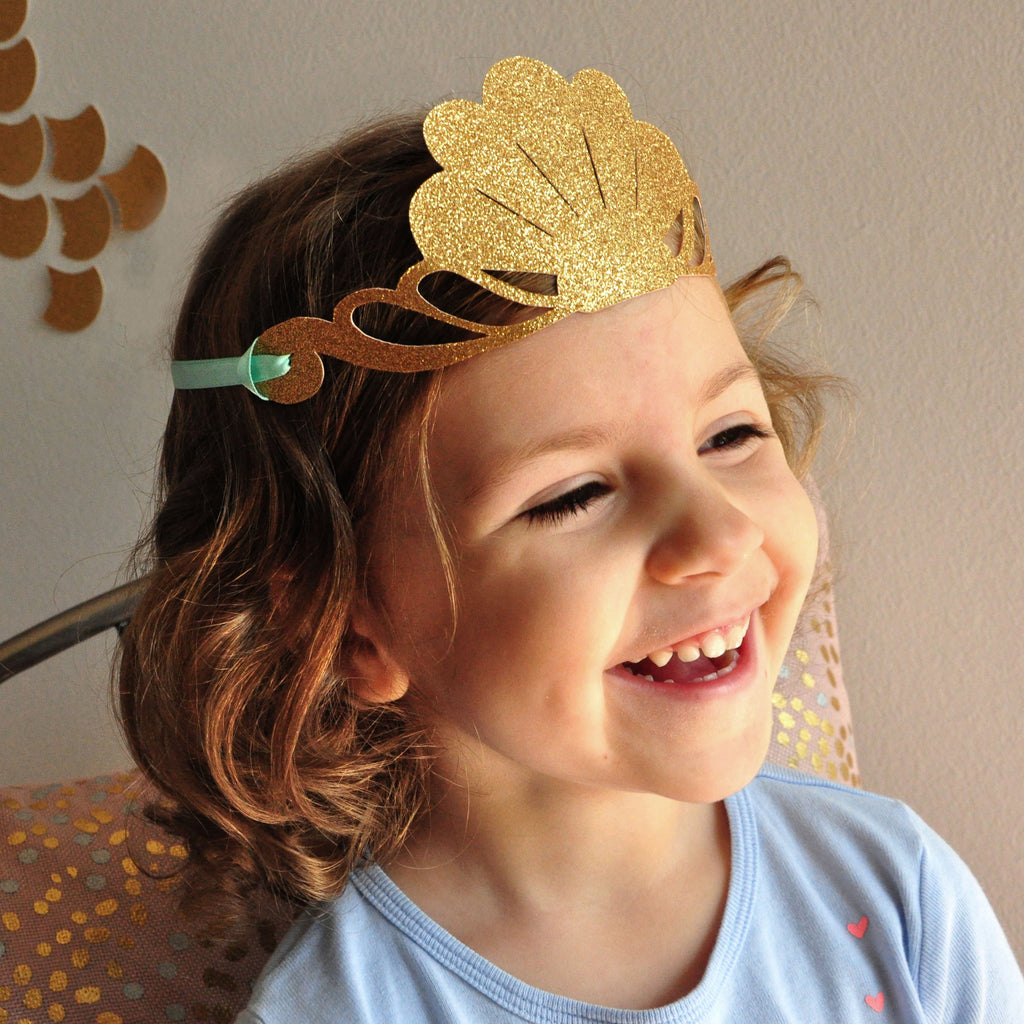Mermaid Crown. Mermaid Party Favor. Handcrafted in 1-3 Business Days. Glitter Gold Party Crown.