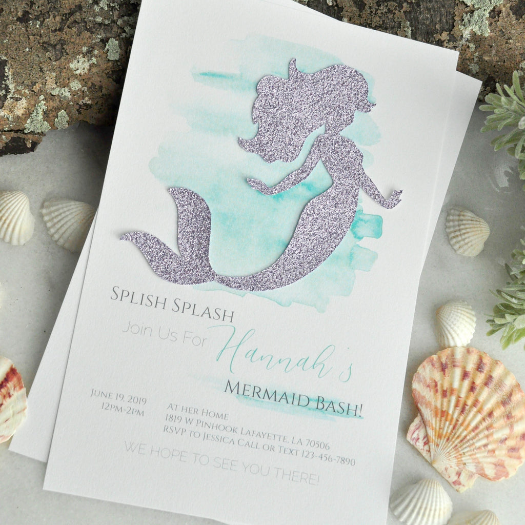 Mermaid Invitation with Envelopes. We Print, Cut, Glue and Send to You. Mermaid Party Invitations.