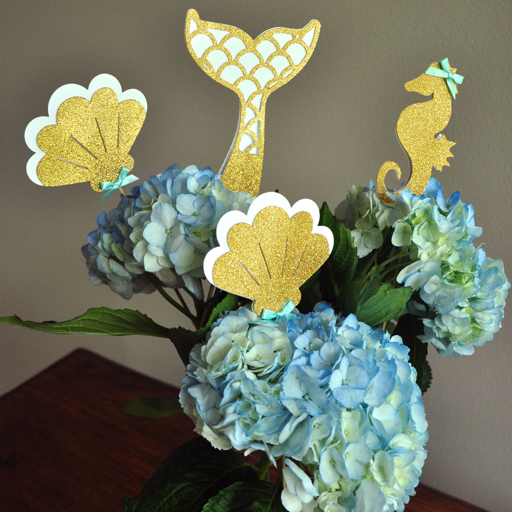 Mermaid Party Decorations. Mermaid Centerpiece. Handcrafted in 1-3 Business Days. Mermaid Party Favor. Under the Sea Centerpiece. 4CT.