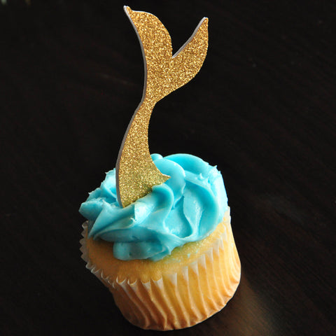 Mermaid Tail Cupcake Toppers. Handmade in 1-3 Business Days. Under the Sea Party Decor 12CT.