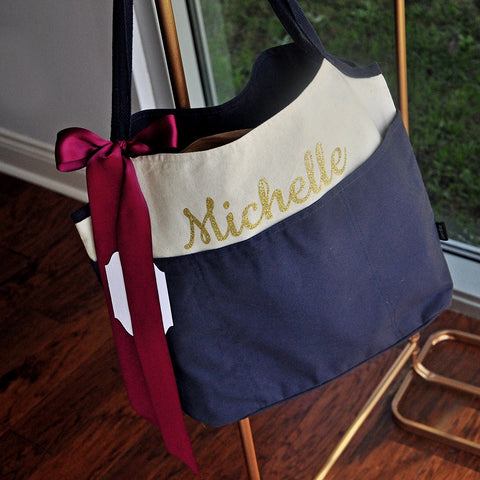 Wedding Party Gifts For Bridesmaids (QTY.1). Navy Bridesmaid Gift. Bridesmaid Tote Bag Personalized. N16CT