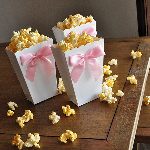 Mini Pink And White Popcorn Boxes. Ships In 1-3 Business