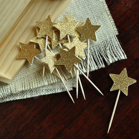 Star Cupcake Toppers in Mini Size.  Handcrafted in 1-3 Business Days.  Glitter Gold Star Cupcake Toppers 12CT.