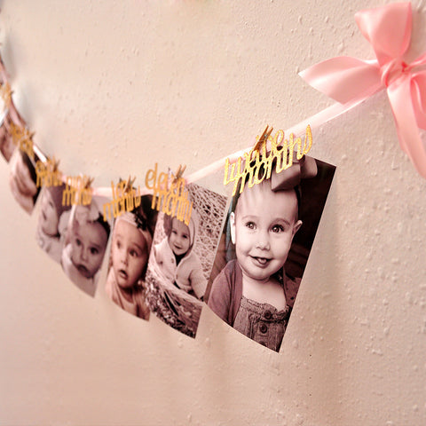 Pink and Gold First Birthday Decorations.   Ships in 1-3 Business Days.  12 Month Photo Banner.  First Birthday Garland.