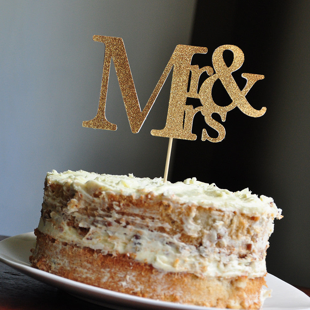 Mr and Mrs Cake Topper.  Ships in 1-3 Business Days.  Wedding Cake Topper.
