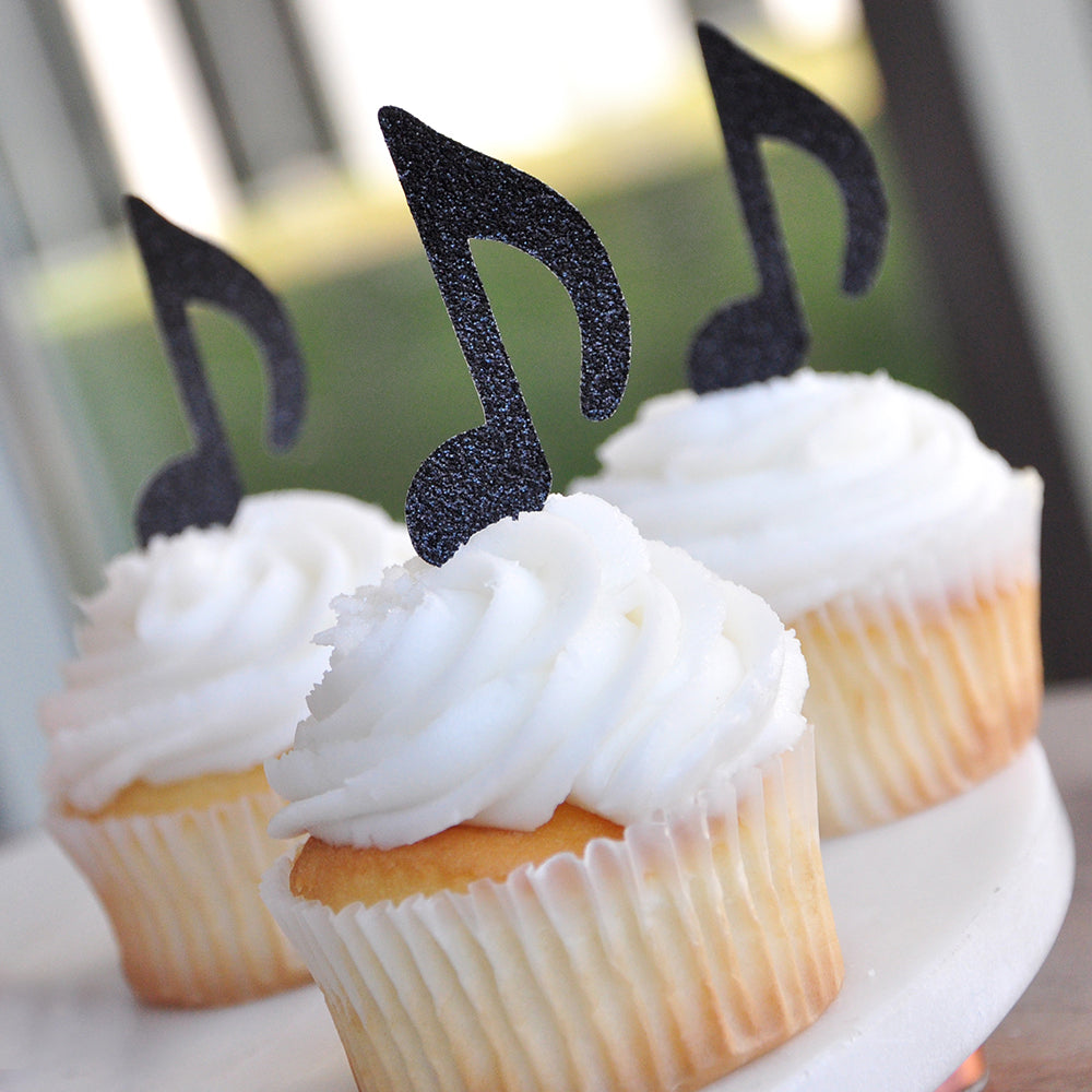 Music Party Decor. Ships in 1-3 Business Days. Rock Star Party. Music Note Cupcake Toppers 12CT.