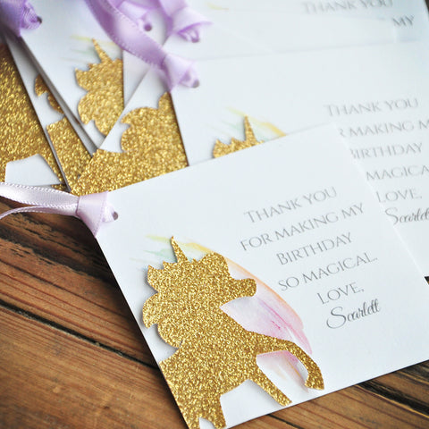 Custom Unicorn Thank You Tags. Unicorn Party Favors. Handcrafted in 1-3 Business Days. Square Personalized Thank You Tags. 10CT.