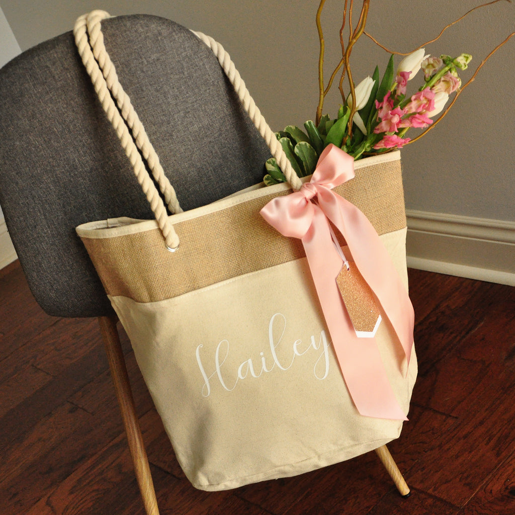 Bridesmaid Beach Bag in Natural Color (Quantity: 1).  Personalize Beach Tote Bag. Bridesmaid Gift Ideas. Wedding Party Gift. N19BT.