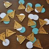 Nautical Baby Shower. Nautical Confetti. Sailboat and Circle Confetti 50CT. Handcrafted in 1-3 Business Days. Nautical Party Decor.