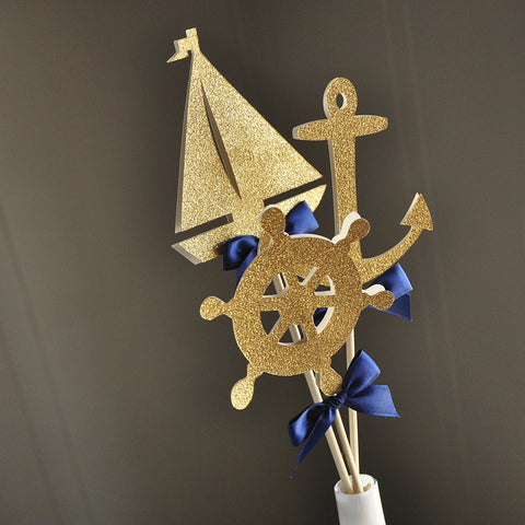 Nautical Baby Shower Decorations.  Ships in 1-3 Business Days.  Nautical Centerpiece.  3CT.