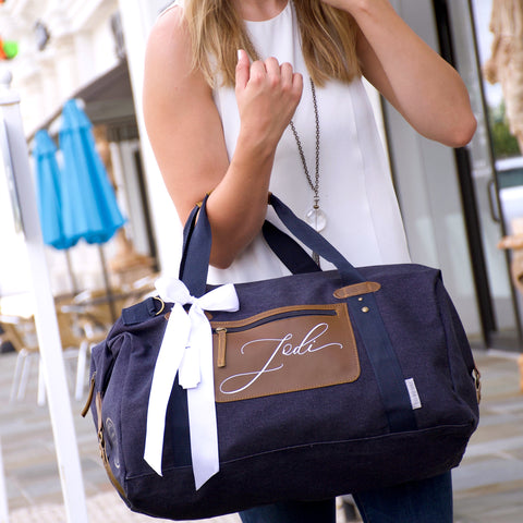 Navy Women's Duffel Bag. (Qty. 1) Personalized Bridesmaid Gift. Overnight Bag For Women. Bridesmaid Bag. N20OB.