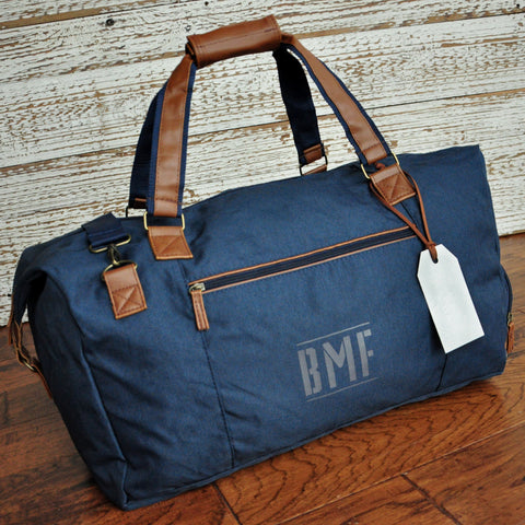 Pre-Order Only. Available Late December. Navy Duffel Groom Gift. Monogram Bag. Personalize Gift for Man. Man Bag. N115D.