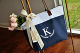 Personalize Bridesmaid Tote (Qty. 1).  Initial Tote with Bridesmaid Ribbon. Wedding Tote Bag. NRT.