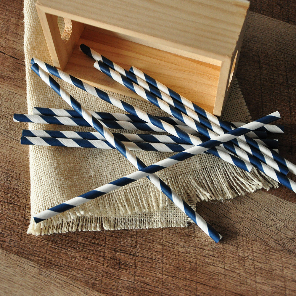 Navy Straws.  Ships in 1-3 Business Days.  Navy Party Decorations.  Party Straws 10CT.