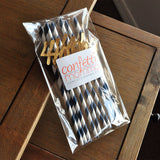 40th Birthday Decoration Straws 10CT. Ships in 1-3 Business Days. Navy Straws with Gold 40.
