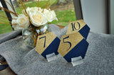 Navy Wedding Table Number. Gold and Navy Wedding. Handcrafted in 1-3 Business Days. Navy Blue Table Numbers. Geometric Wedding Decorations.