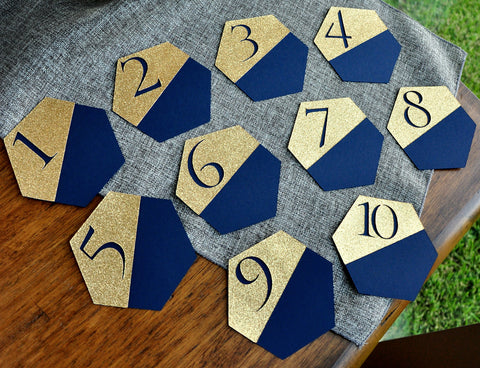 Navy Wedding Table Number Gold And Navy Wedding Handcrafted In 1 3