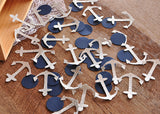 Nautical Bridal Shower Decor. Ships in 1-3 Business Days. Glitter Silver and Navy Anchor Confetti 50CT.