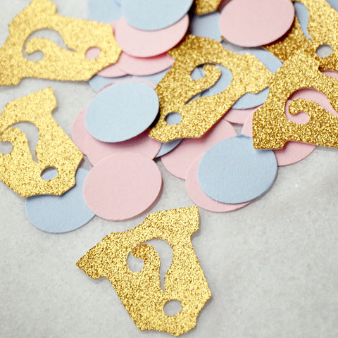 Gender Reveal Party Decorations 50CT.  Ships in 1-3 Business Days.  Onesie Confetti.  Question Marks.