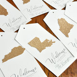 Welcome Bag Tag. (Qty. 1) Personalized State Gift Tag. Wedding Welcome Tags. Hotel Welcome Favor Tag.