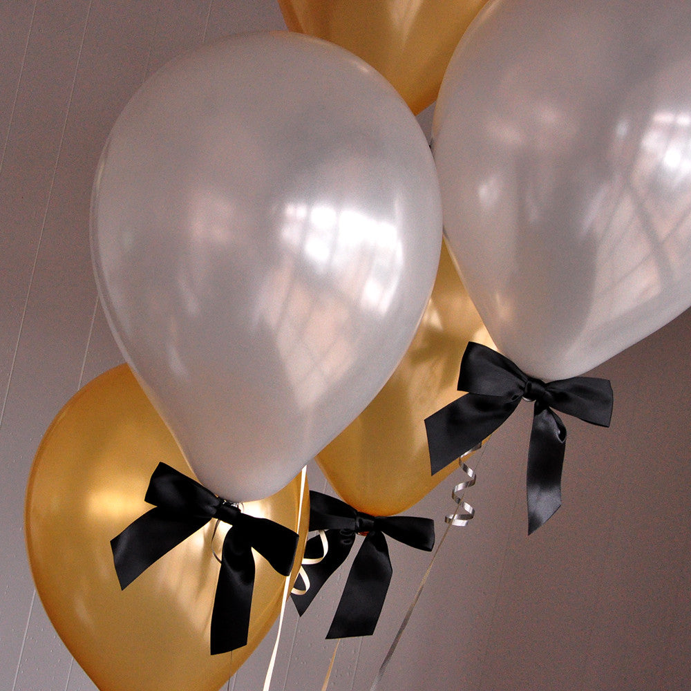 Graduation Balloons.  Handcrafted in 1-3 Business Days.  Gold and Silver Balloons with Bows 8CT + Curling Ribbon.